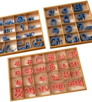 Large movable Tamil alphabet cut-outs