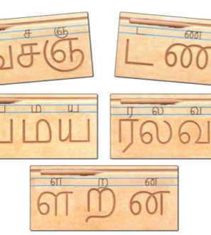 Carved Tamil consonants